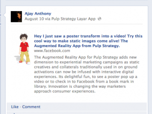 Augmented reality application focuses on young consumers. Gives companie...